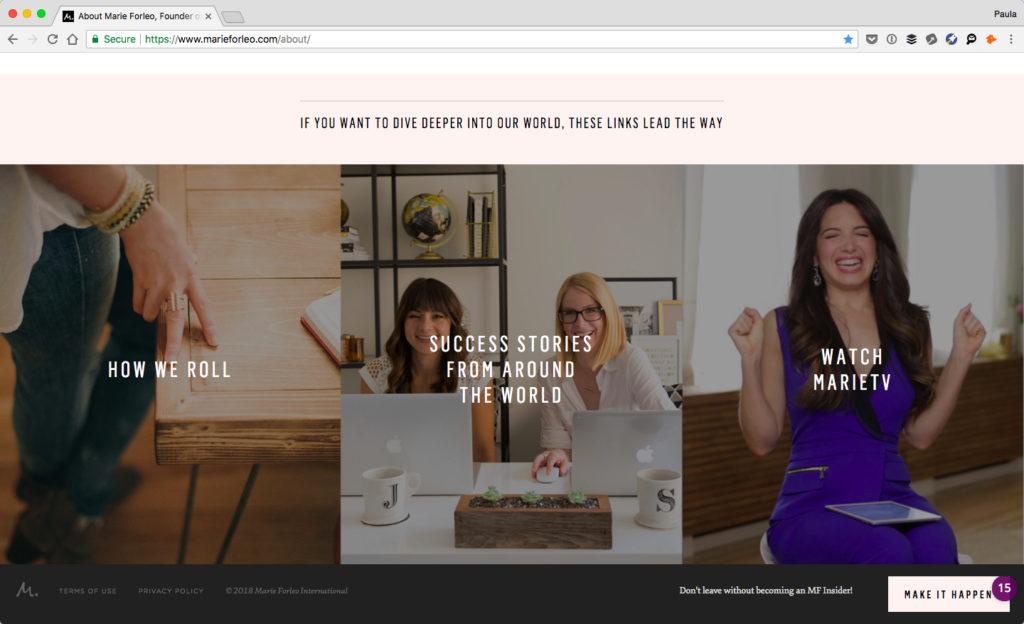 Screenshot of Marie Forleo's website
