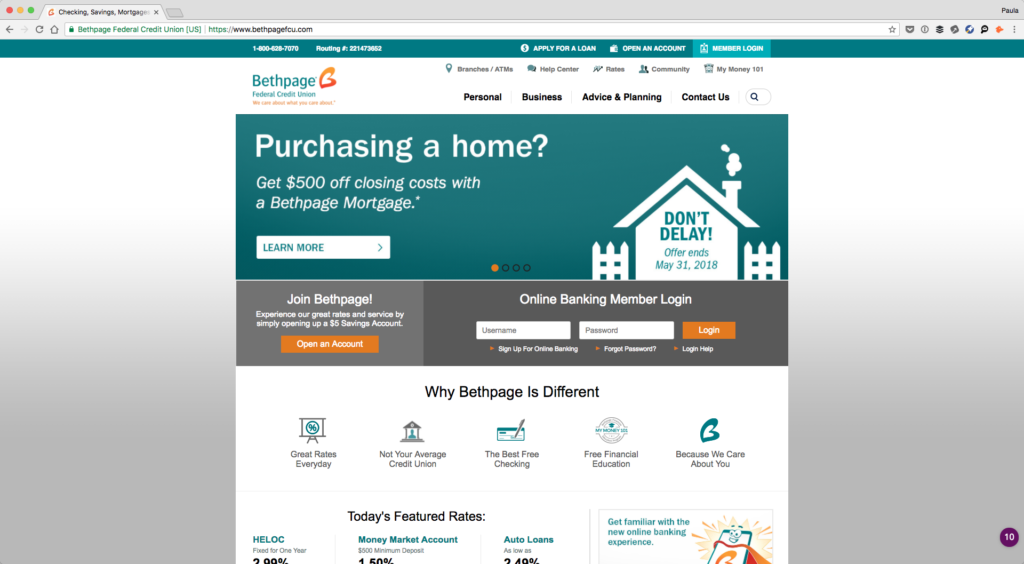 Screenshot of Bethpage Credit Union's homepage