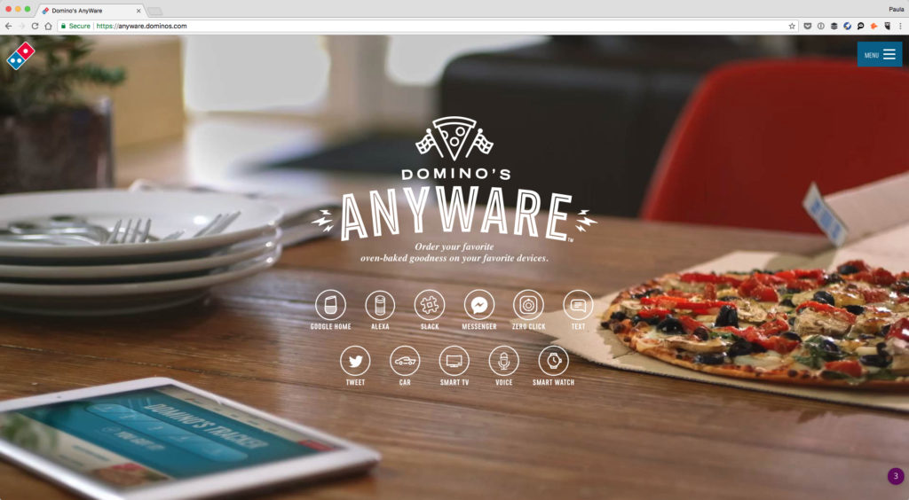 Screenshot of Domino's landing page