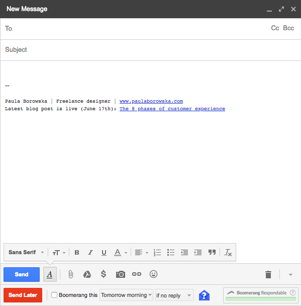An empty draft email with links to my most recent blog post for boosting brand visibility.