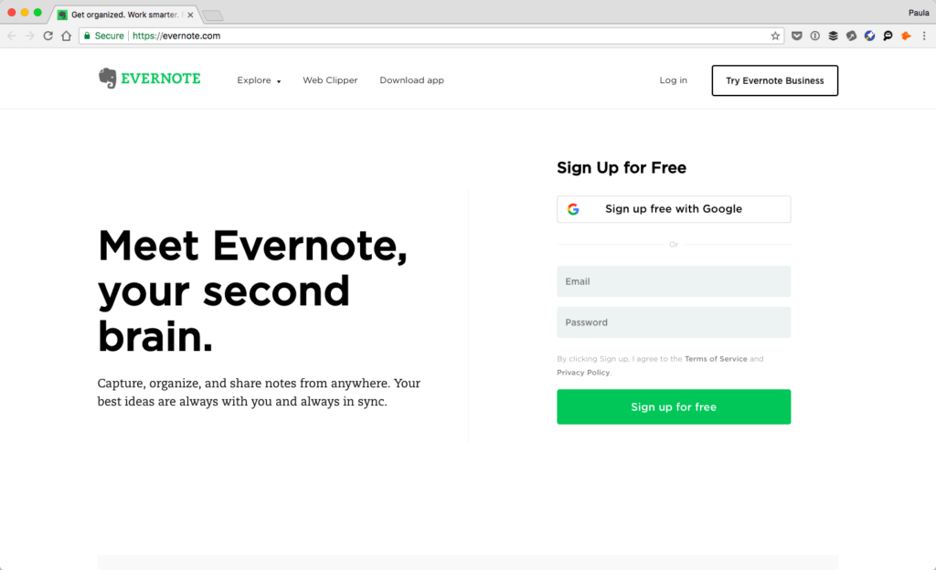Screenshot of Evernote's homepage
