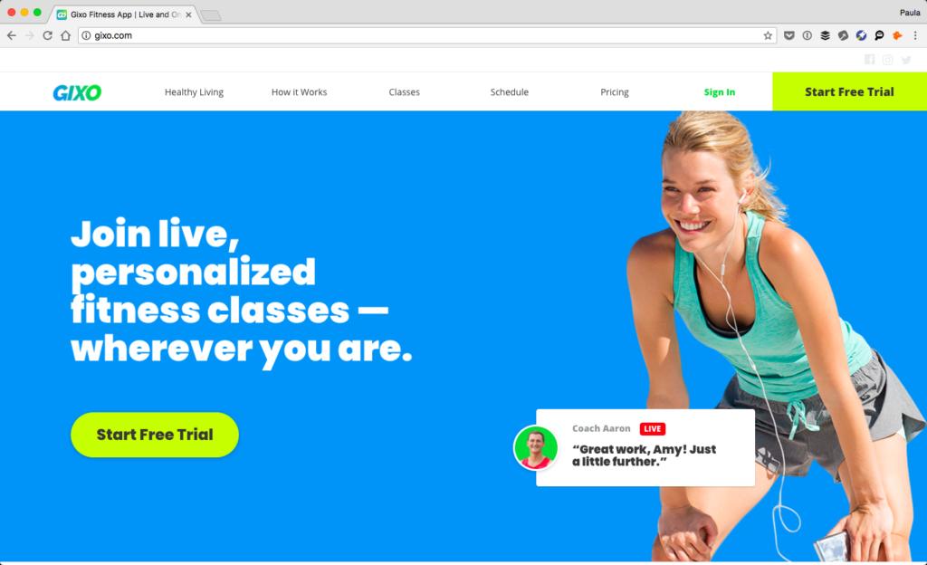 Screenshot of Gixo's homepage