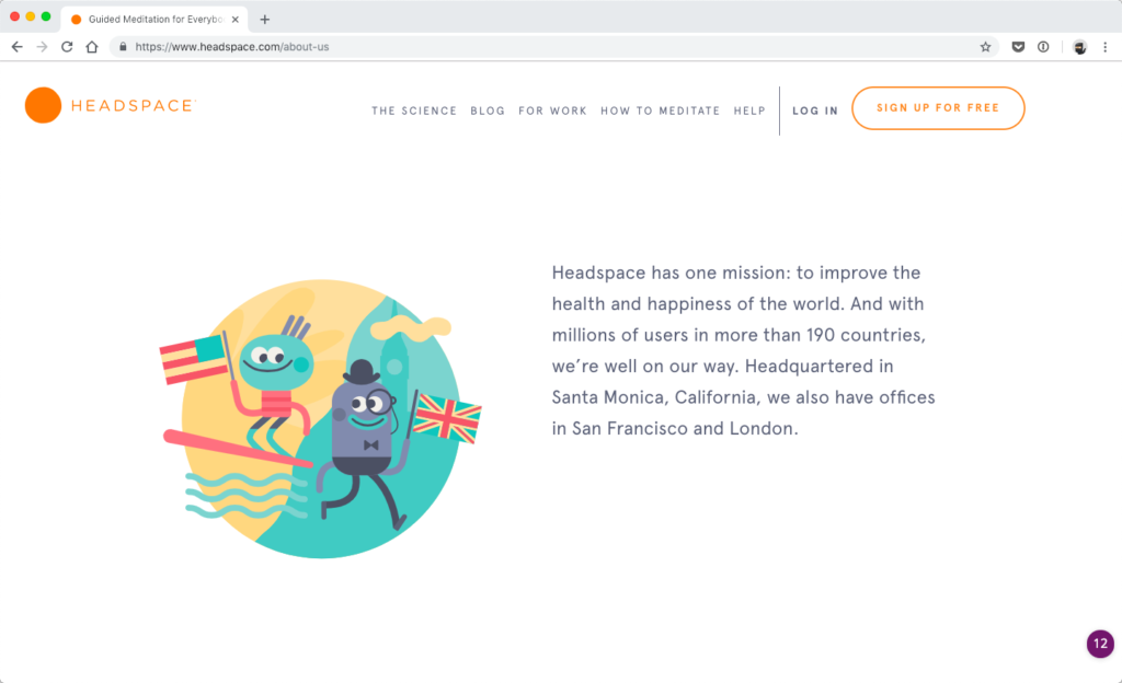 Headspace's about page - focus on your target audience