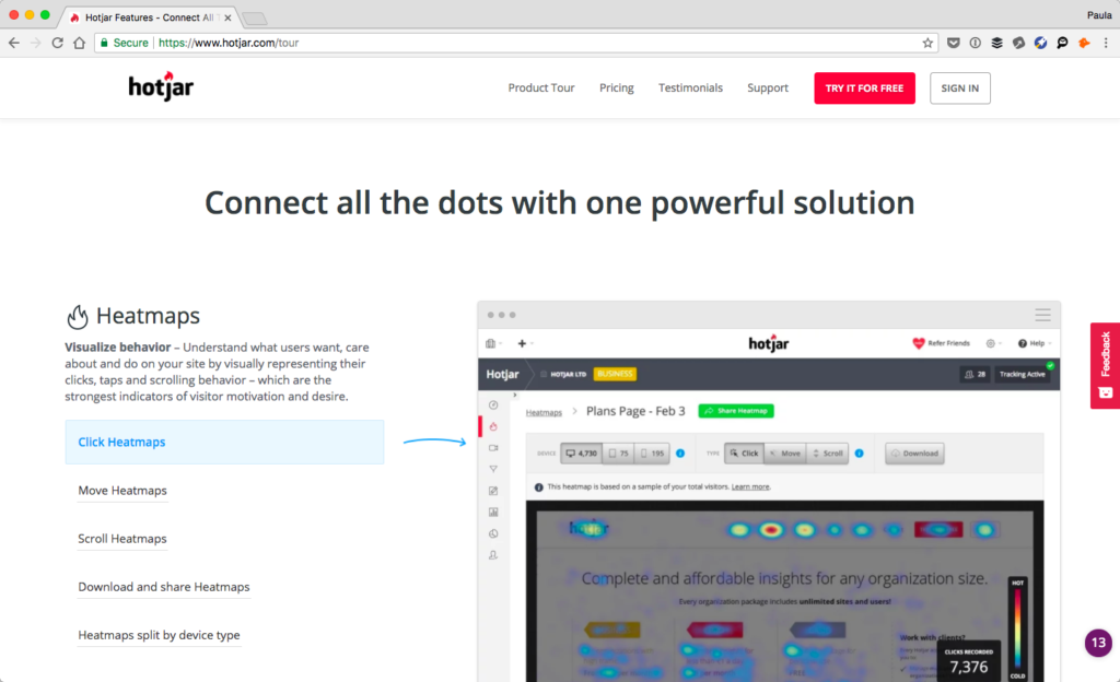 Screenshot of Hotjar's website