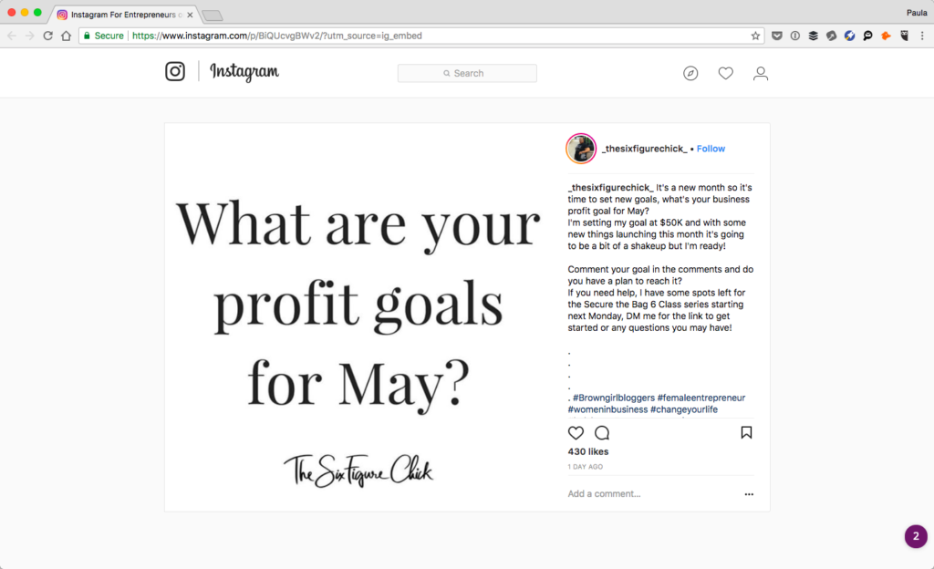 Screenshot of the Six Figure Chick's Instagram post