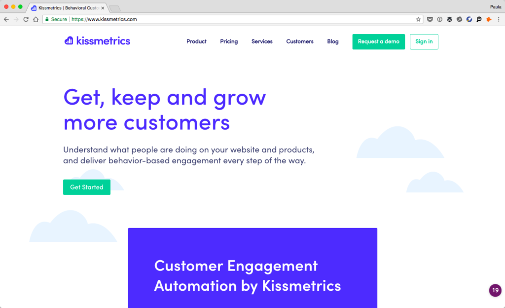Screenshot of Kissmetric's website