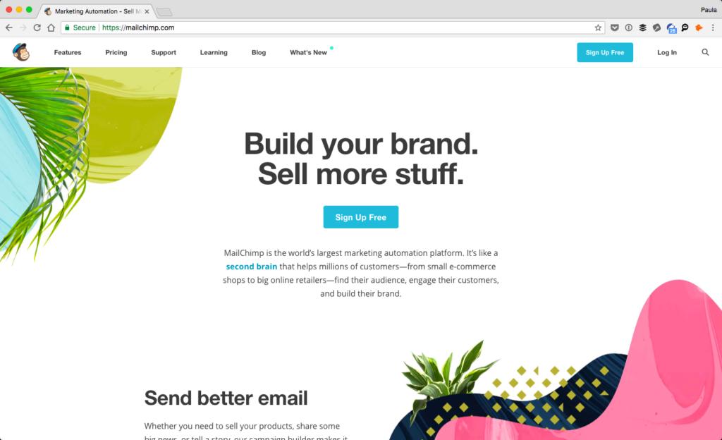 Screenshot of Mailchimp's website