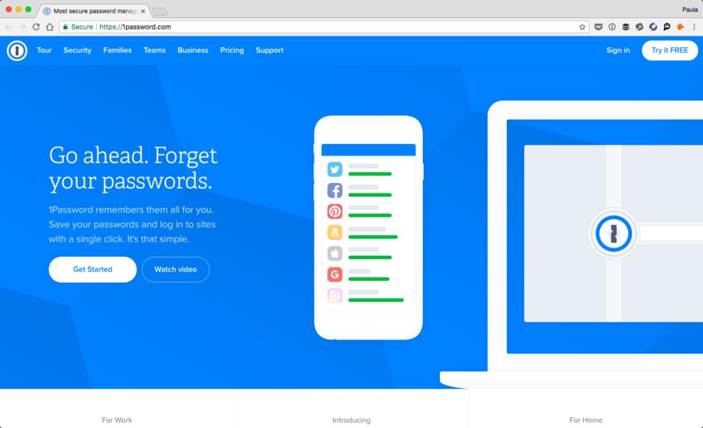 Screenshot of 1Password's website