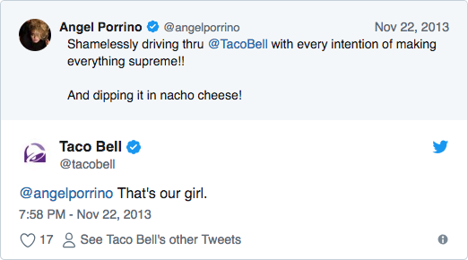 Screenshot of a typical example of an amazing Taco Bell tweet