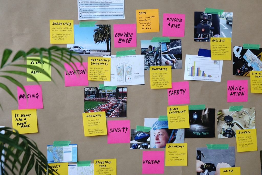 Target audience - sticky notes and photos on a board