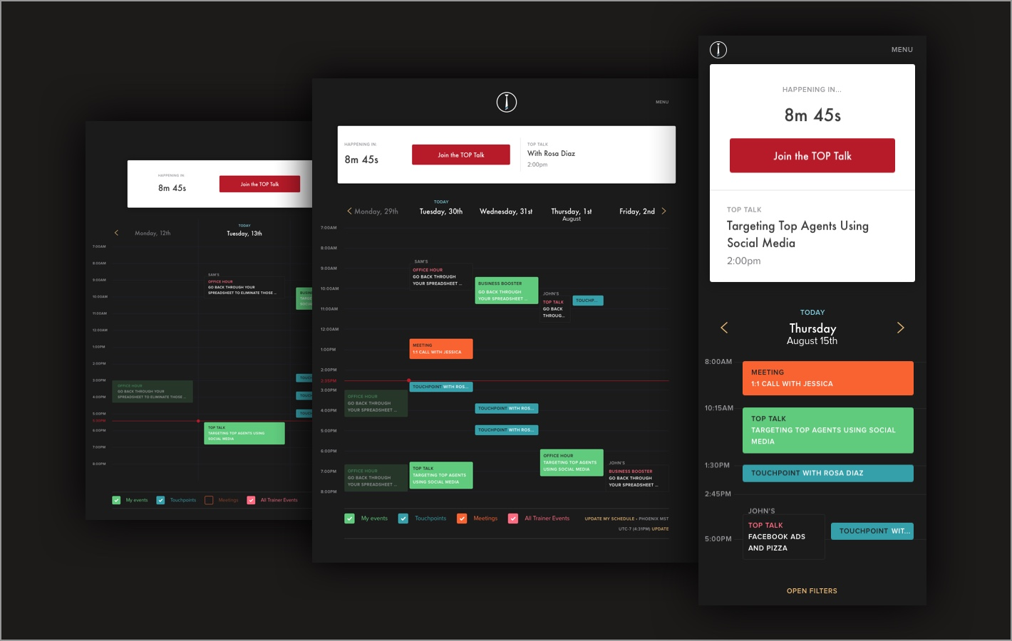 TOP: Web design case study: trainer calendars screens