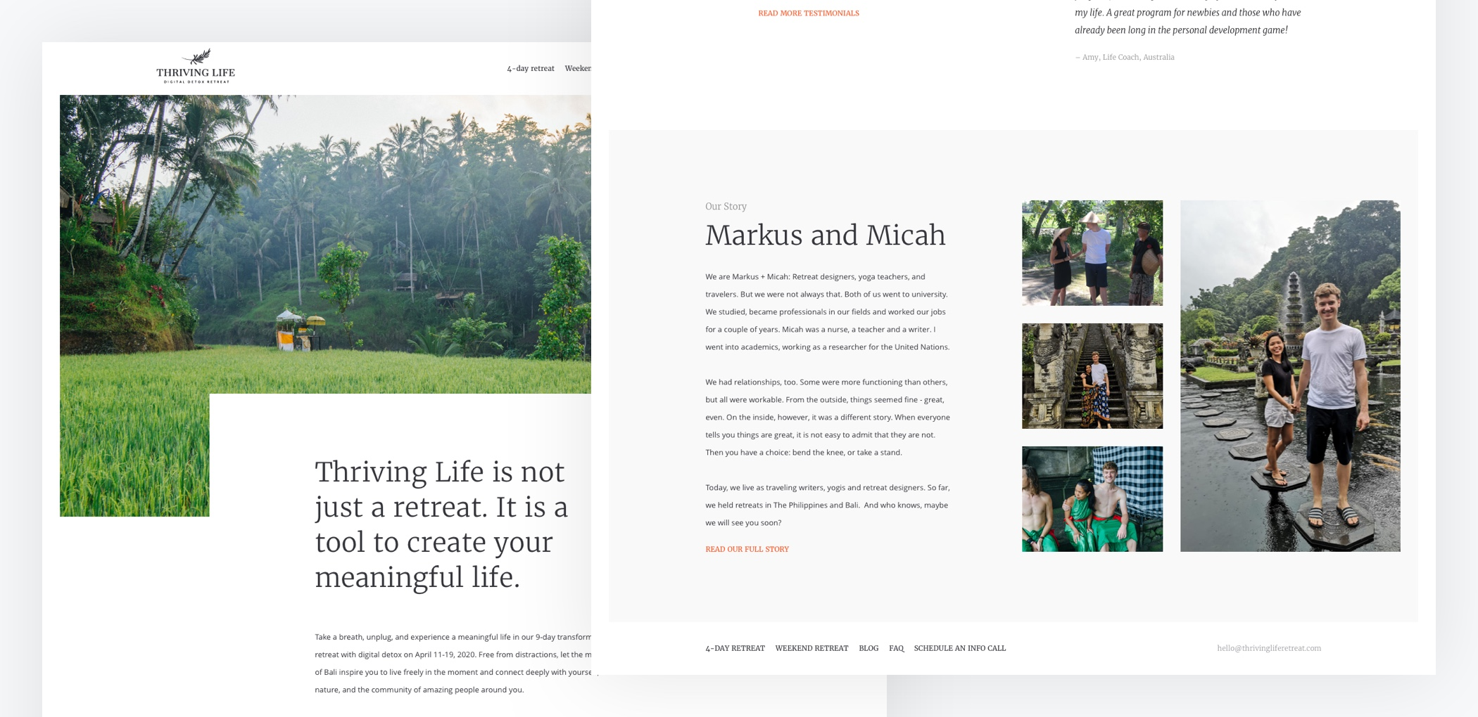 Thriving Life Digital Detox Retreat: preview of the homepage designs