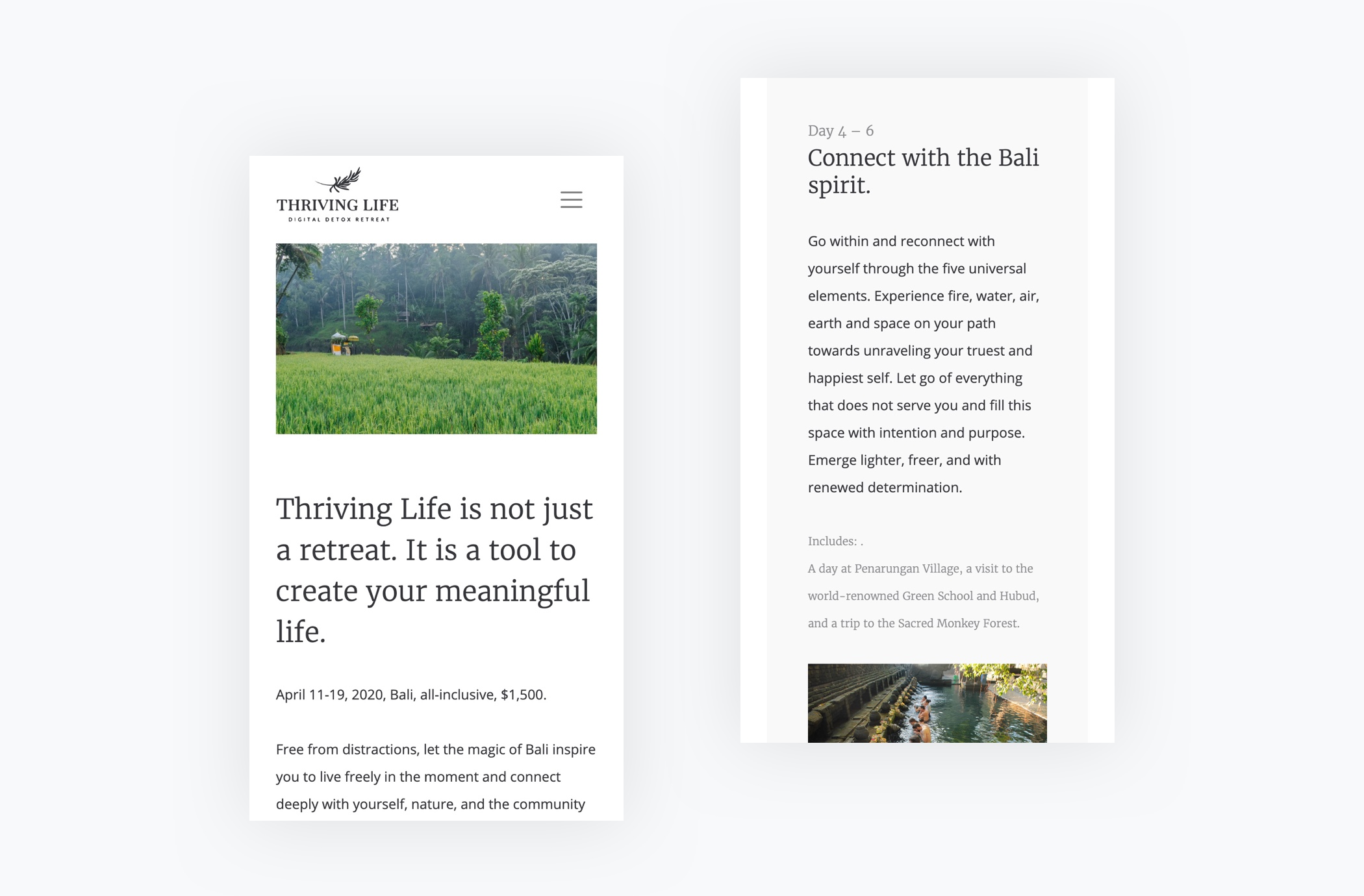 Thriving Life Digital Detox Retreat: a couple shots of the mobile homepage