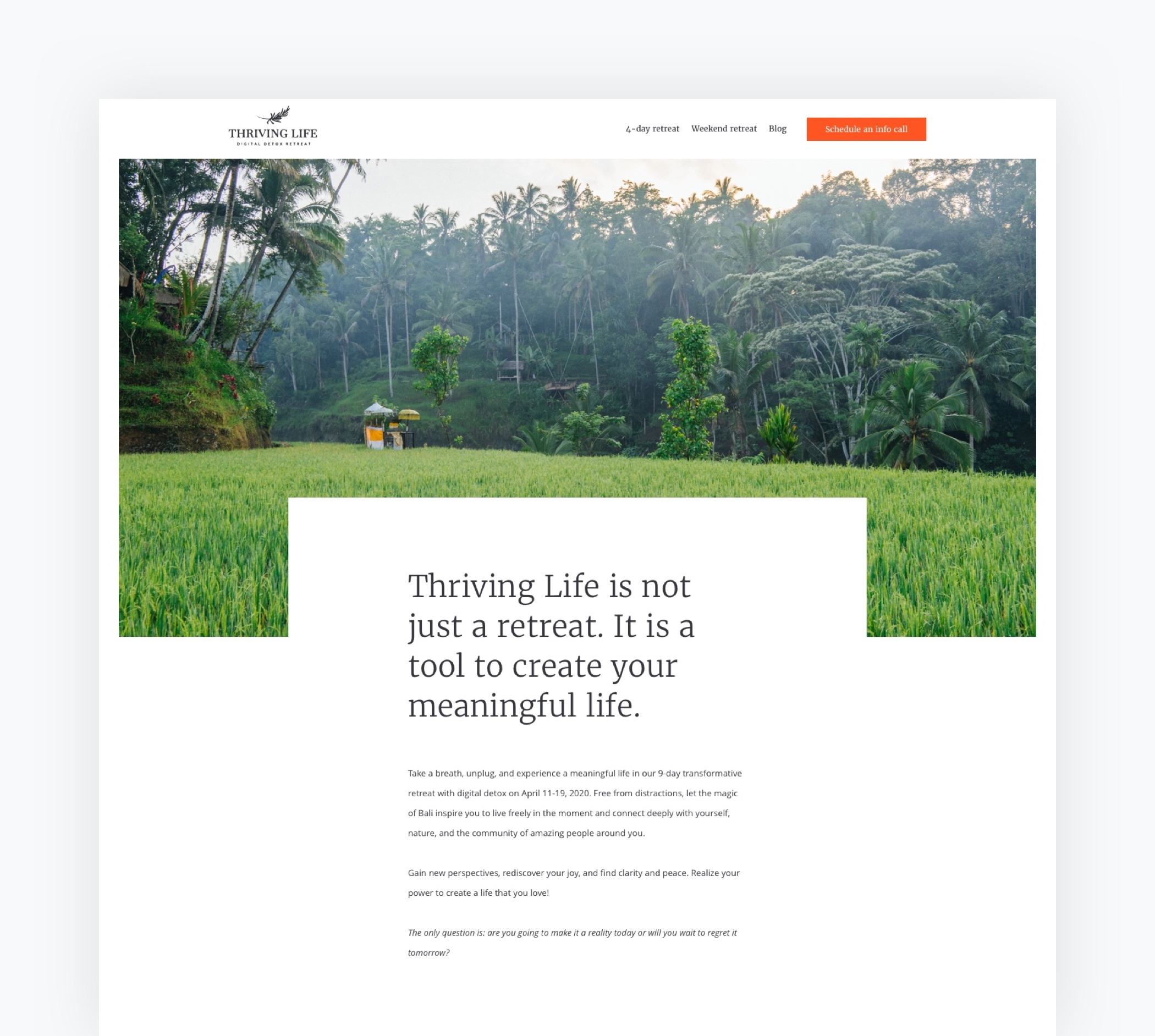 Thriving Life Digital Detox Retreat: image of the tope of the homepage's design
