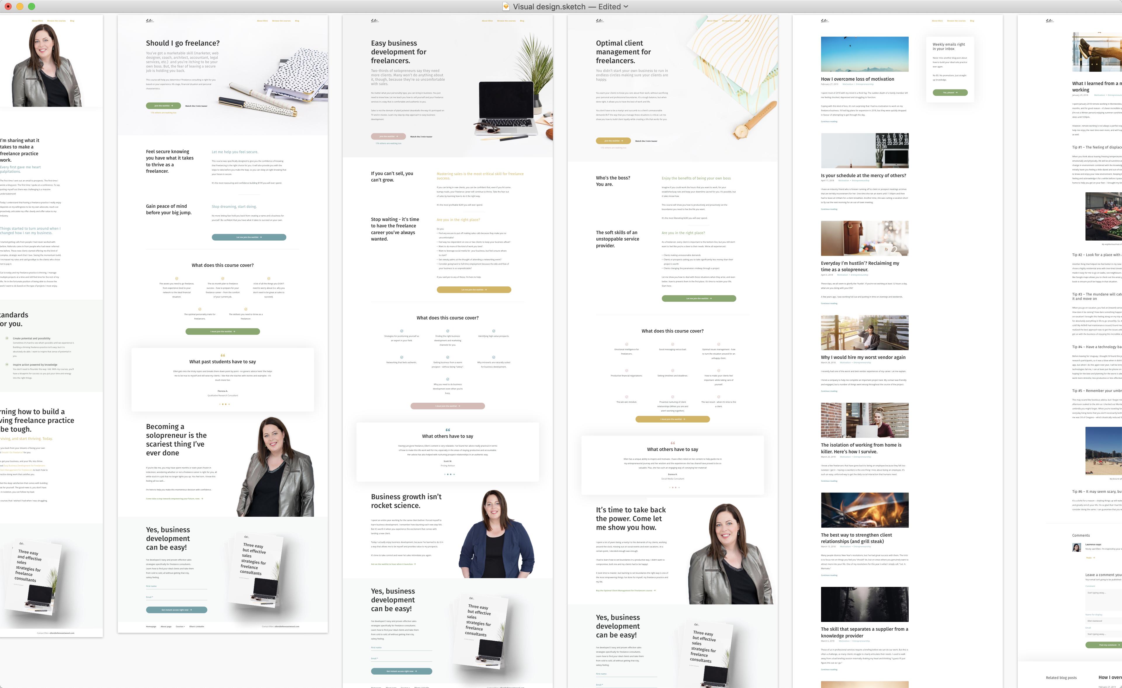 Ellen Eastwood: screenshots of desktop designs
