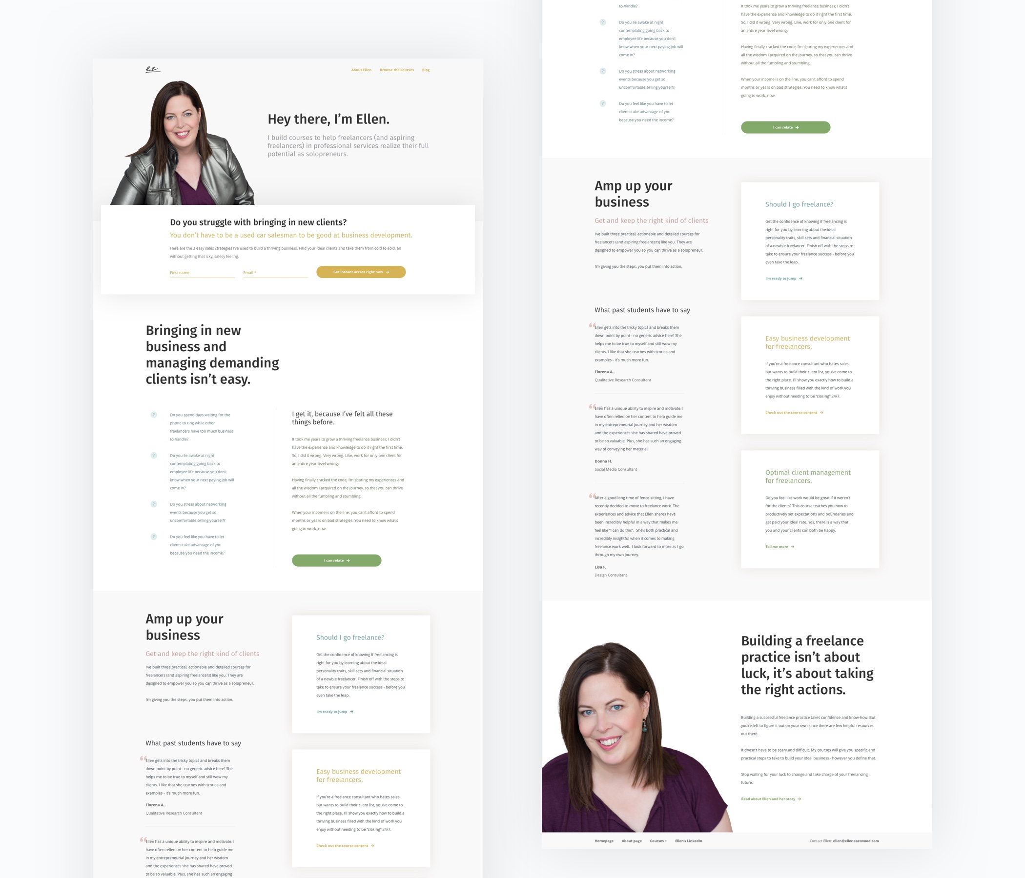 Ellen Eastwood: homepage design