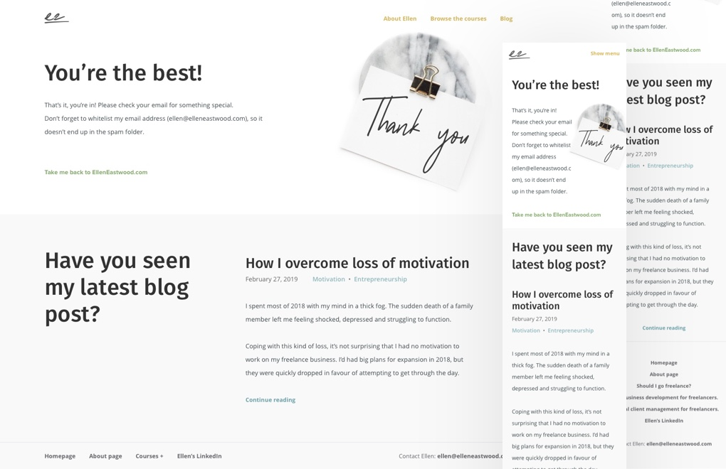 Ellen Eastwood: the responsive designs for the thank you page