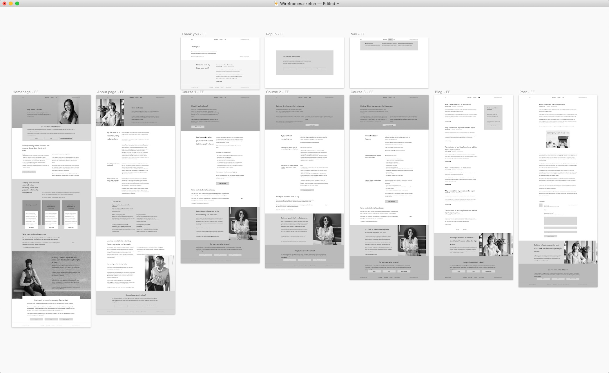 Ellen Eastwood: screenshot of wireframes