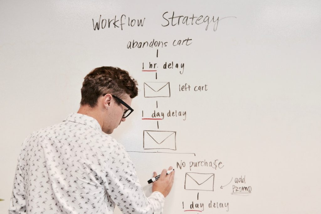 A man writing on a whiteboard.