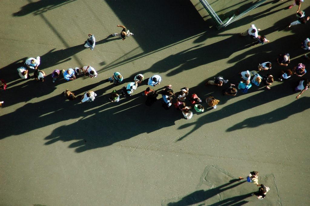 A line of people. Aerial view.