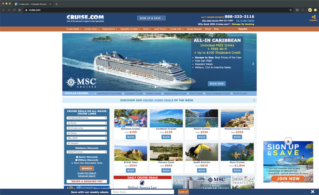 Screen shot of www.cruises.com for an example of poor usability and scannability.